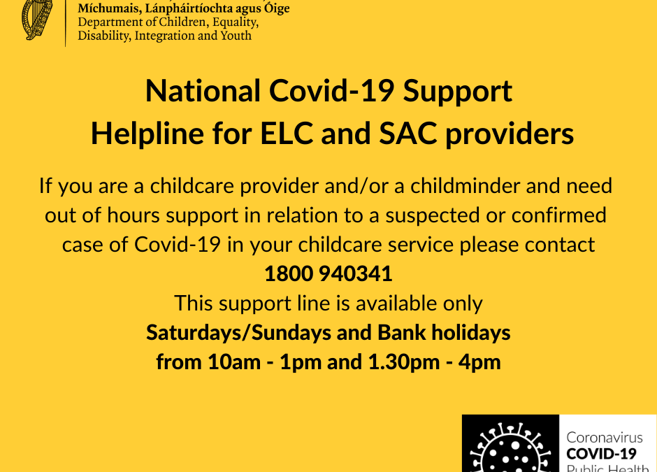 National Covid-19 Support out of hours Helpline for ELC and SAC providers